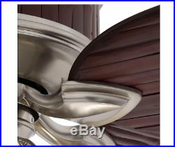 Bamboo Ceiling Fan 52 in Unique Brown Pewter Blades w Light Kit, Bulbs & Remote