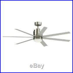 Blitz 56-in Brushed Nickel LED Indoor/Outdoor Ceiling Fan with Light Kit