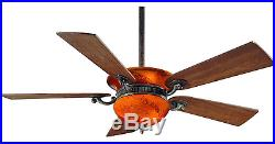 Blown Glass Fixture 52 Quiet Ceiling Fan & Remote Integrated Uplight Light Kit