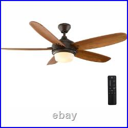 Breezemore 56 In. Led Indoor Mediterranean Bronze Ceiling Fan With Light Kit And