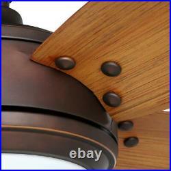 Breezemore 56 in. LED Indoor Mediterranean Bronze Ceiling Fan with Light Kit