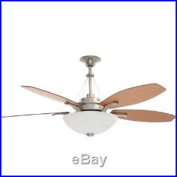 Brookedale 60 in. Indoor Brushed Nickel Ceiling Fan with Light Kit and Remote Co
