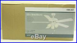 Brookhurst Classic Indoor Ceiling Fan with Light Kit LED Bulbs White 52 inch NEW