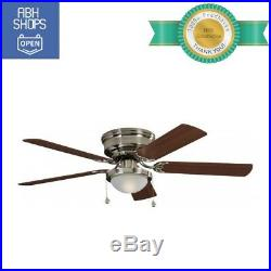 Brushed Nickel Ceiling Fan with Glass Light Kit Indoor Flush Mount 52 Inch Decor