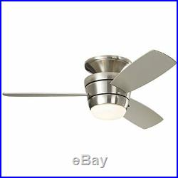 Brushed Nickel Flush Mount Indoor Ceiling Fan with Light Kit and Remote 3 Blade
