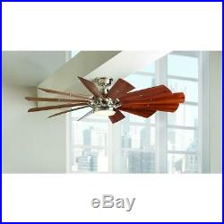Brushed Nickel Indoor Home Ceiling Fan 60 in. With LED Light Kit Remote Control