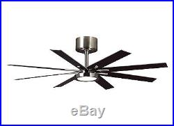 Brushed Steel Empire 8-Blade 60 Indoor Ceiling Fan LED Light Kit and Remote