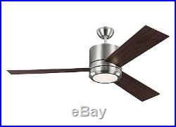 Brushed Steel Vision Max 3-Blade 56 Ceiling Fan WithReversible Blades & Light Kit