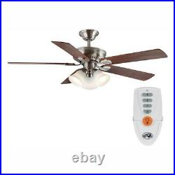 Campbell 52 in. LED Indoor Brushed Nickel Ceiling Fan with Light Kit and Remote