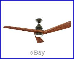 Carved Wooden 3-Blade 60 LED CEILING FAN + REMOTE Country Light Kit Lodge Cabin