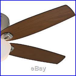 Casablanca 54 Low Profile Ceiling Fan with Cased White Glass Light Kit