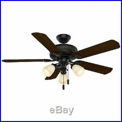 Casablanca Ainsworth 54 Inch Indoor Ceiling Fan with Light Kit & Pull Chain, Black