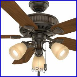 Casablanca Ainsworth 54 Inch Indoor Ceiling Fan with Light Kit & Pull Chain, Brown