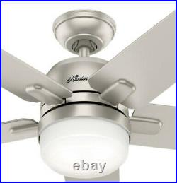 Cavera II 52 in. Indoor Matte Nickel Wifi-Enabled Smart Ceiling Fan withLight Kit