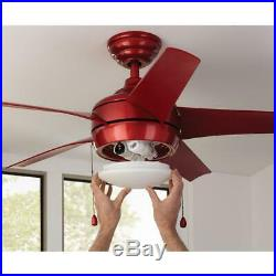 Ceiling Fan 44 in. 5-Blade Frosted White Bowl LED Light Kit Reversible Motor Red