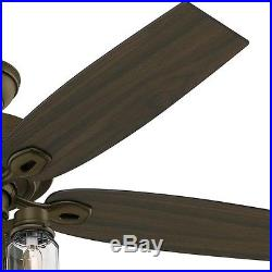 Ceiling Fan 52 Inch Rustic Bronze Indoor Farmhouse Mason Jar Glass Light Kit New