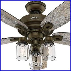 Ceiling Fan 52 in. 5 Blades 3-Speed Reversible Motor Dry Rated Light Kit