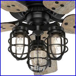 Ceiling Fan 52 in. LED Hunter Port Isabel Indoor/Outdoor Matte Black Light Kit