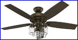 Ceiling Fan 52 in. Regal Bronze Ceiling Fan Farmhouse Mason Jar Glass Light Kit