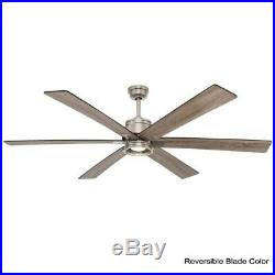 Ceiling Fan 70 in. 6 Blades Brushed Nickel LED Light Kit Remote Control