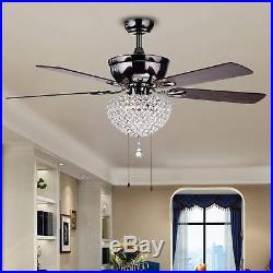 Ceiling Fan Crystal Chandelier Light Kit 52 Wood with Metal 3 Light Modern