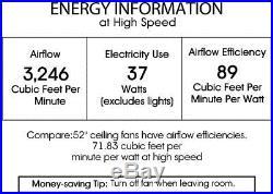 Ceiling Fan Crystal Chandelier Light Kit Modern 52 Living Room Bedroom Black