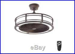 Ceiling Fan Drum LED Light Kit 23 in Compact Look Indoor Outdoor Remote Bronze