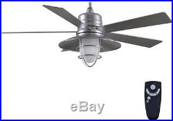 Ceiling Fan LED Indoor/Outdoor Galvanized Light Kit and Remote Control 54 in