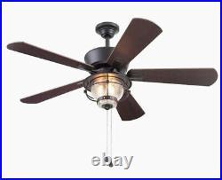 Ceiling Fan LED Indoor Outdoor Light Kit 5 Blade Merrimack II Matte Bronze Home