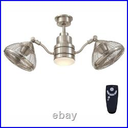 Ceiling Fan LED Light Kit 42 in. 3-Speed Dual-Motor Dimmable Brushed Nickel