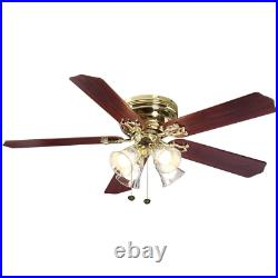 Ceiling Fan LED Light Kit 52 in. Polished Brass Indoor 5 Blades With 4 Lights