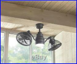 Ceiling Fan LED Light Kit Espresso Bronze 42 in. Dual Cage Design Remote Control