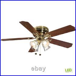 Ceiling Fan LED Light Kit Indoor Flush Mount Polished Brass Finish 52 in