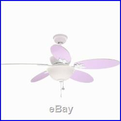 Ceiling Fan Light Kit 44 in Reversible Pink Purple Blades Downrod White
