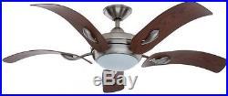 Ceiling Fan Light Kit 52 in 5-Blade 3-Speed Remote Control Nickel (1 Bulb)
