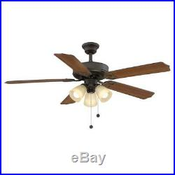 Ceiling Fan Light Kit 52 in. Pull-Chain Frosted Glass Shades Oil Rubbed Bronze