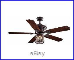 Ceiling Fan Light Kit Flush Mount Indoor Outdoor Downrod Rustic Bronze 52 inch