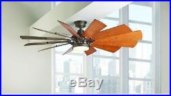 Ceiling Fan Light Kit Indoor 60 in. LED Light Reversible Blades Espresso Bronze