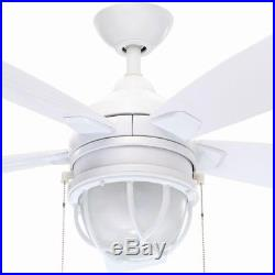 Ceiling Fan Light Kit LED Angled Frosted Glass Motor White 52 Inches Reversible