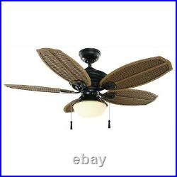 Ceiling Fan Light Kit Opal Glass Palm Beach III LED Quiet Natural Iron 48 in