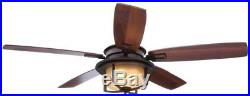 Ceiling Fan Light Kit Remote Control 52 inch Oil-Rubbed Bronze Rustic Fixture