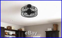 Ceiling Fan Light Kit Remote Industrial Vintage Cage Caged Drum Remote Pendant