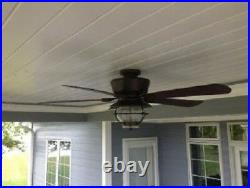 Ceiling Fan Light Kit Remote Patio 52 Antique Bronze Indoor Outdoor 5 Blades
