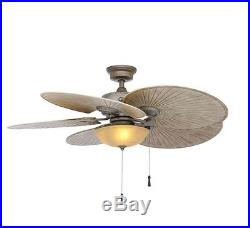 Ceiling Fan Tropical Outdoor 48 in. Glass Bowl Light Kit Palm Blades All-Weather