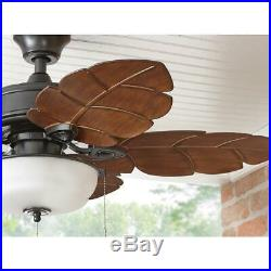Ceiling Fan Tropical Style Indoor Outdoor Palm Leaf Blades Bowl Light Kit 44 In