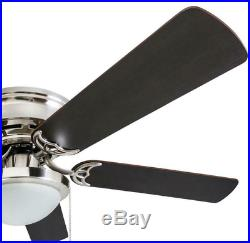 Ceiling Fan With Light Indoor 52-In Nickel 5-Blade Lights Kit Flush Mount LED