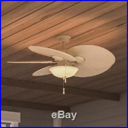 Ceiling Fan With Light Kit 48in Vintage White Havana LED 5 Palm Blades Tropical