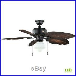 Ceiling Fan With Light Kit 52 in. LED Gilded Iron Rustic Leaf-Shaped Blades