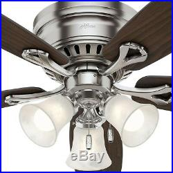 Ceiling Fan With Light Kit Brushed Nickel 52 Flush Mount Low Profile LED Indoor