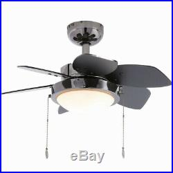 Ceiling Fan With Light Kit Gun Metal 24 Indoor Small Room Reversible 6-Blades
